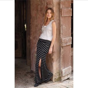 Bordeaux Anthropologie Stripe Ribbed Maxi Skirt